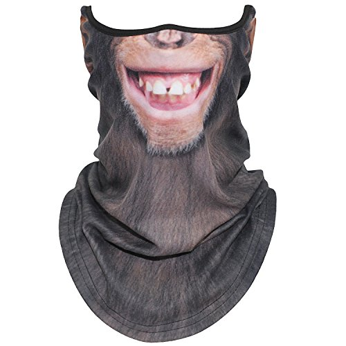 AXBXCX Animal 3D Prints Neck Gaiter Warmer Half Face Mask Scarf Windproof Dust UV Sun Protection for Skiing Snowboarding Snowmobile Halloween Cosplay Smile - Animal Neck