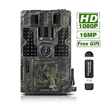 "Trail Game Camera 16MP 1080P Waterproof Hunting Scouting Cam Wildlife Monitoring 130° Detection with 0.2s Trigger Speed 2.4"" LCD IR LEDs IP55 Waterproof Design"