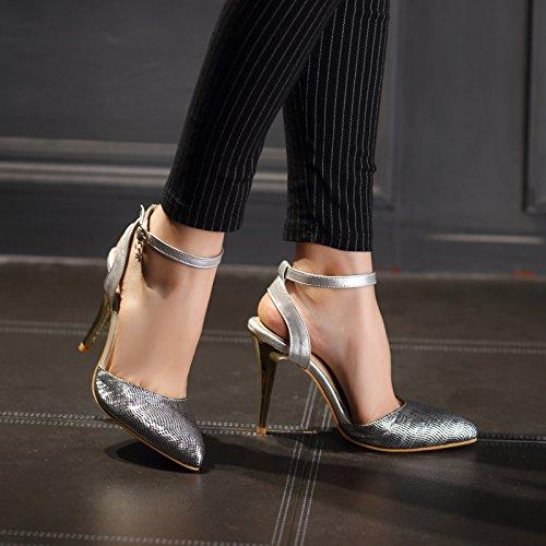 tacón con Hebilla alto de hebilla punta de en sandalias femenina sandalias femeninas Golden HBZ6B8U1S