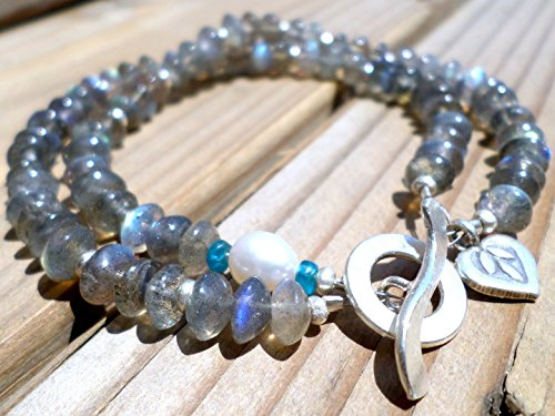 Labradorite Bracelet and Hill Tribe Silver (Hill Tribe Silver 7mm)