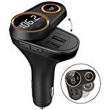 Bluetooth FM Transmitter for Car FM transmitter Bluetooth with Hand-Free Calling Voice navigation and LCD Display Music Player Support TF Card USB Flash Drive Dual 5V/2.4A USB Charge