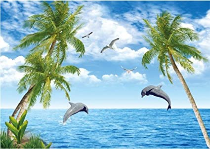 LHDLily 3D Wallpaper Mural Large Tv Background Wall Scenery Simple Mediterranean Blue Sky Sea