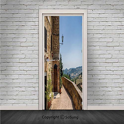 Italian Decor Door Wall Mural Wallpaper Stickers,The Walls of Pienza in Tuscany Historical European Landmark,Vinyl Removable 3D Decals 30.4x78.7/2 Pieces set,for Home Decor Light Brown Green Light Blu