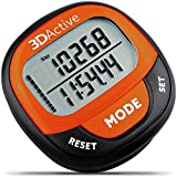 3DActive 3D Pedometer PDA-100  Best Pedometer for Walking with 30-Days Memory.Accurate Step Counter, Calorie Counter, Distance Miles/Km & Daily Target Monitor.Fitness Tracker for Men & Women (Orange)