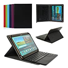 CoastaCloud Pu Leather Folio Bluetooth Keyboard Case Cover for Samsung Galaxy Tab S2 9.7 T815C/T810 and Tab A 9.7 T555C/T550 with QWERTY Layout Removable Keyboard and Touchpad Black