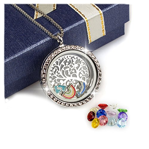 Plated Trinket Gold Crystal Silver (PWMEN Gifts for Women Men,30mm Round Floating Living Memory Lockets Pendant Family Tree of Life Necklace with Birthstones(Silver))