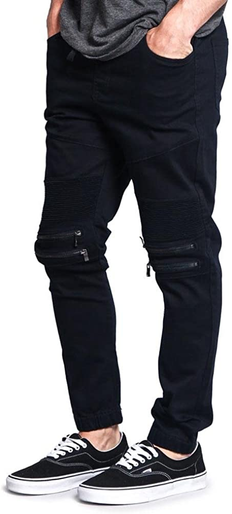 G-Style USA Distressed Biker Moto-Style Jogger Pants 883-navy z2D2p