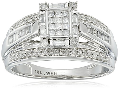 10K White Gold Princess Cut Center Diamond Engagement Ring (1/2 cttw), Size 7