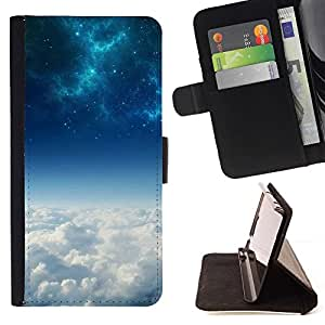 DEVIL CASE - FOR HTC Desire 820 - Blue Space Galaxy Above Clouds - Style PU Leather Case Wallet Flip Stand Flap Closure Cover