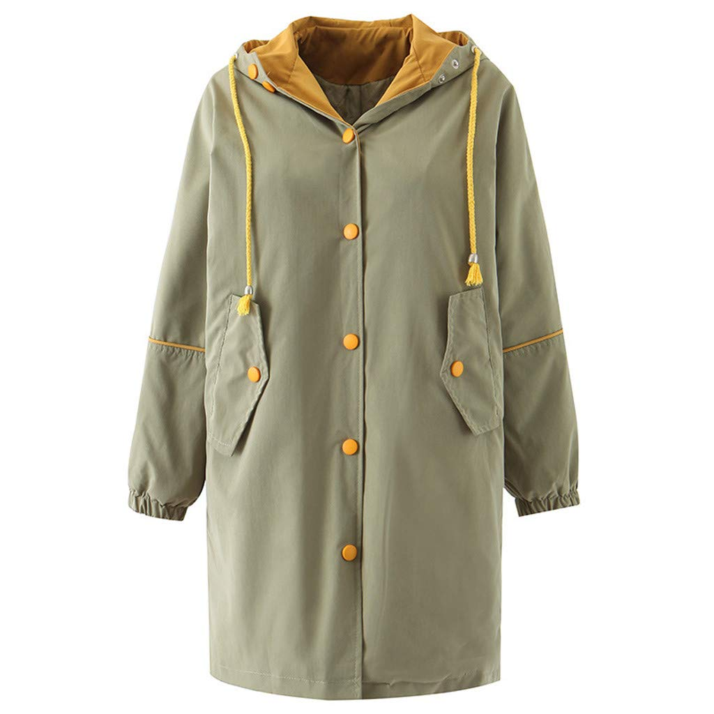Pandaie Women Winter Thicken Warm Quilted Jacket Hooded Color Block Long Parka Softshell Jacket Windbreaker Coats Green by Pandaie