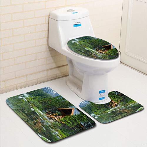 MTSJTliangwan 3-Piece Bathroom Set, Bathroom Rug + Contour pad + lid Toilet seat, Log Cabin Hidden in The Trees by The Lake Ohara in Canada Comfortable Flannel Rug