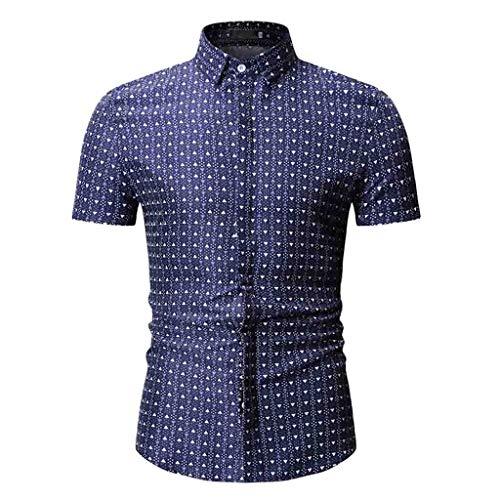 MODOQO Mens Dress Shirts,Business Fashion Striped Turn-Down Collar Big and Tall T-Shirt(Dark Blue B,CN-M/US-XS)