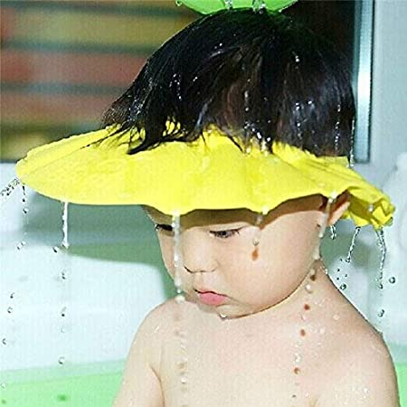 Ibepro seguro para el bebé champú ducha baño protección suave gorro de ducha gorro lavar Shield para niños de pelo para mantener el agua fuera de sus ojos y cara amarillo amarillo