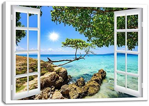 [해외]큰 창문 프레임 스타일 그린 트리 시스 케이프 캔버스 인쇄 벽 아트 현대 여름 풍경 벽 사진 장식 거실 침실 나무 액자 준비가 (40cmx60cm 창구 1) / Large window frame style Green Tree Seascape Canvas Print Wall Art Modern Summer Landscape ...
