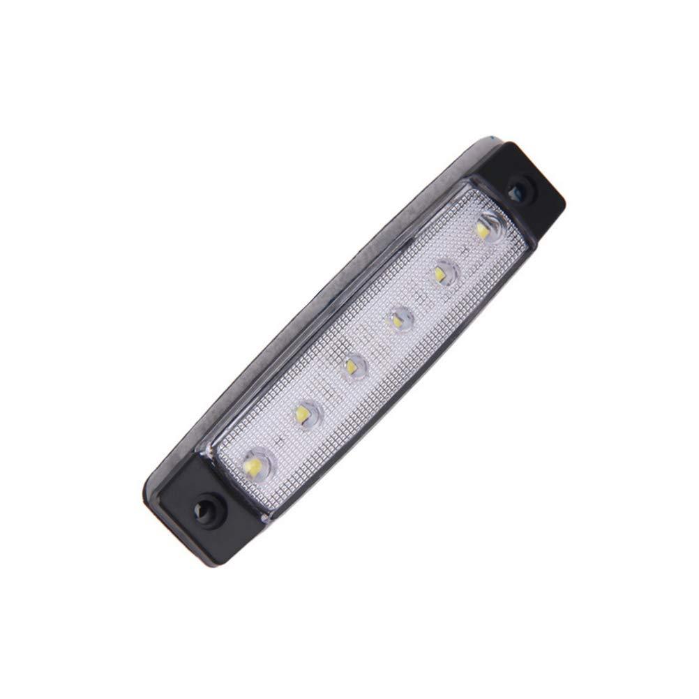 Vosarea 2pcs 12V 6 LED Clearence Truck rimorchio fanale Posteriore Indicatori Laterali Indicatore luci di Bordo Lampada Bianco