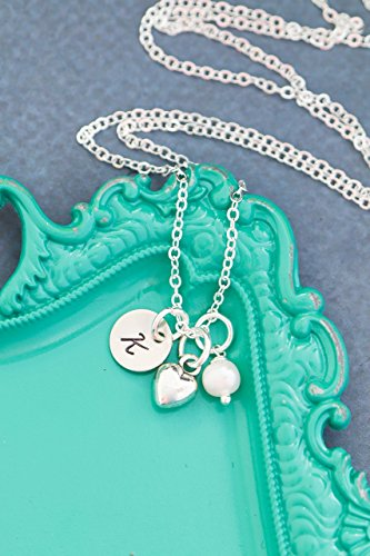 Tiny Heart Initial Necklace – DII AAA - Small Charm Wedding Gift Engagement – 3/8 Inch 9MM Disc – Custom Personalized – Fast 1 Day Shipping (New 9mm Custom Charm)
