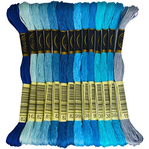 Premium Rainbow Color Embroidery Floss – Cross Stitch Threads – Friendship Bracelets Floss – Crafts Floss – 14 Skeins Per Pack Embroidery Floss, Electric Blue Gradient