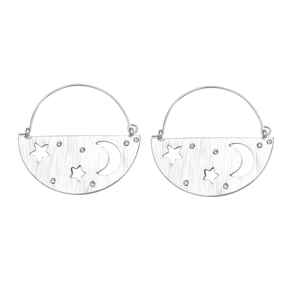 ODLADM Shiny Moon Star Women Earrings Metal Half Circle Crystal Drop Dangle Earrings Girls Jewelry Silver Gold