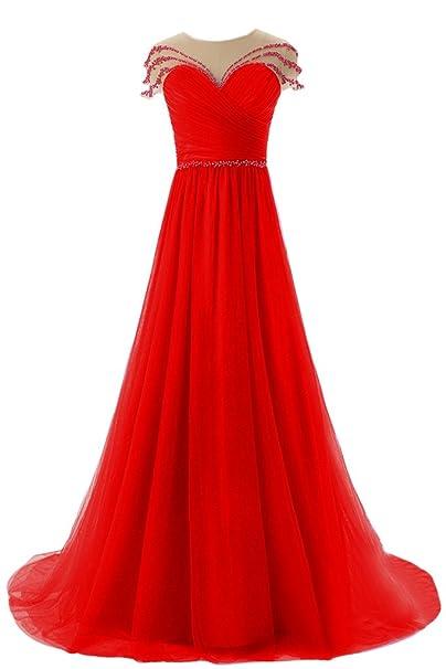 sunvary Cute a-line de tul Sheer espalda con lazo boda vestidos vestidos de fiesta Prom: Amazon.es: Ropa y accesorios