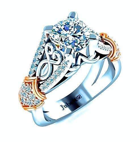 1.30Ctw Vintage Cushion Cut Diamond Engagement Ring Two-Tone Split Shank Filigree Knot Custom White&Rose Gold 14K Jubariss