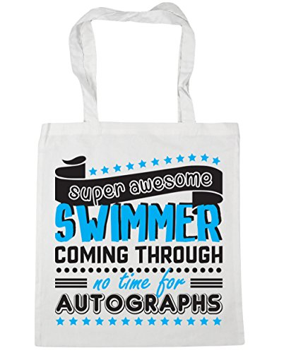 HippoWarehouse Super Awesome Swimmer Coming Through No Time For Autographs Swimming Tote Shopping Gym Beach Bag 42cm x38cm, 10 litres White