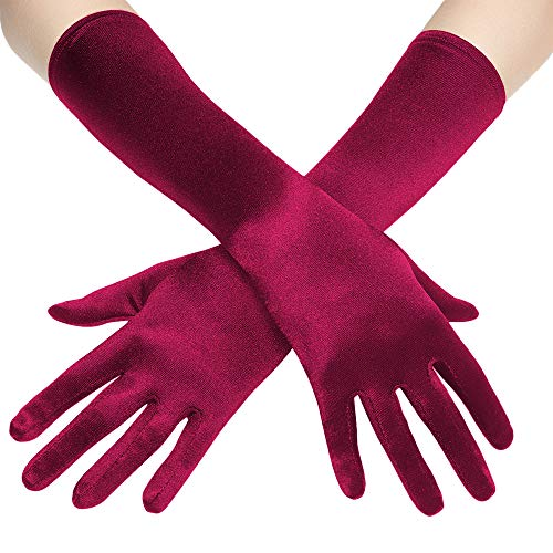 """BABEYOND Long Opera Party 20s Satin Gloves Stretchy Adult Size Elbow Length 20.5"""" (Smooth 15in-Wine Red)"""