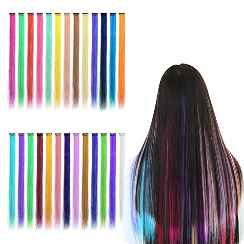 26pcs Colored Hair Extensions Hairpiece Highlight Clip-on Hair Extension Colored Hairpieces Costume Wig for Cosplay Party 20 Inches -