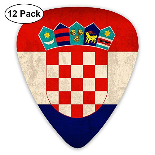 WOODRAIN Croatia Vintage Flag Guitar Picks 351 Shape Classic Picks 12-Pack Celluloid Paddles Plectrums 0.46mm/ 0.71mm/ (351 Vintage Celluloid Guitar Picks)