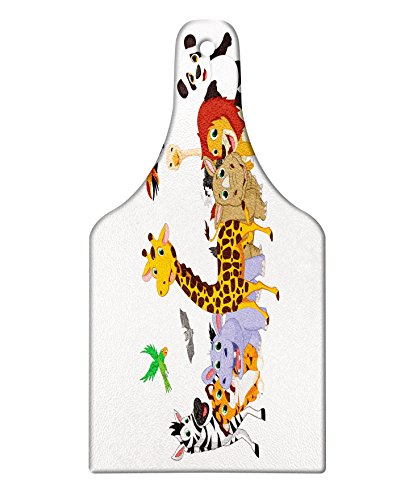 Lunarable Animals Cutting Board, Colorful Jungle Animals Hippo Bat Parrot Giraffe Rhino Panda Safari Theme African, Decorative Tempered Glass Cutting and Serving Board, Wine Bottle Shape, Multicolor by Lunarable