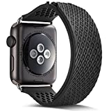 Apple Watch Band,Camyse 42mm iWatch Band Wrist Strap Premium Soft Silicone Replacement Rubber bands with Breathable Ventilation Holes for Apple Watch Series 3, 2, 1,Sport, Edition for Women Men- Black