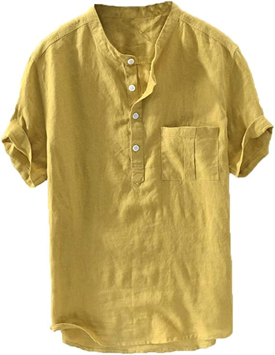 SoonerQuicker Camisas de Hombre T Shirt tee Verano de los Hombres Nuevo algodón Puro botón de cáñamo Mangas Cortas Moda Blusa Grande Top: Amazon.es: Ropa y accesorios