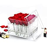 Weiai Clear Acrylic Rose Box Wedding Flower Gift Box Square Multifunctional Water Holder Flower Pot Makeup Organizer C217 series (16 holes)