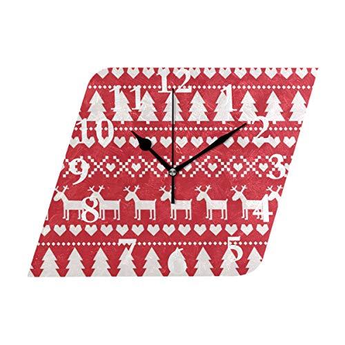 NMCEO Rhombus Wall Clock Cute Trees Deer Hearts Acrylic Original Clock for Home Decor ()