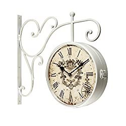 Adeco CK0004 White Iron Round Double-Sided Wall Hanging Clock with Scroll Wall Mount Home Decor, White