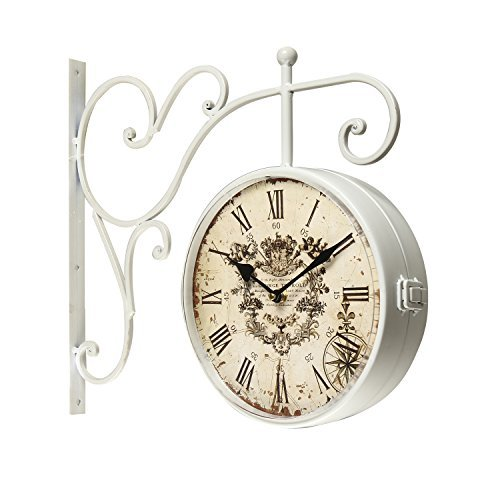 Adeco White Iron Round Double-Sided Wall Hanging Clock - Vintage Antique Hanging Clock