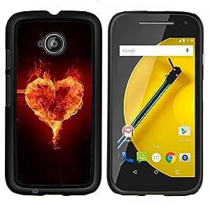 EJOOY---Cubierta de la caja de protección para la piel dura ** Motorola Moto E2 E2nd Gen ** --Corazón Fuego