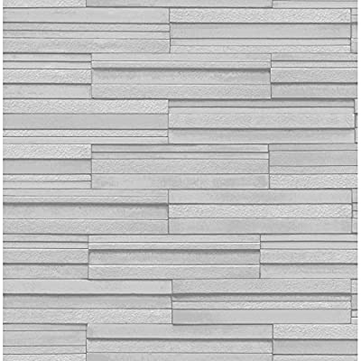 Fine Decor Ceramica Slate Tile Washable Wallpaper Soft Grey