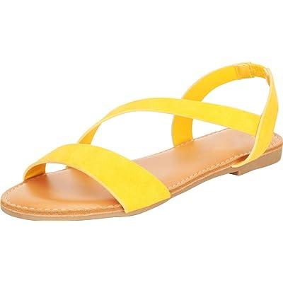 Cambridge Select Women's Open Toe Strappy Slingback Flat Sandal | Flats