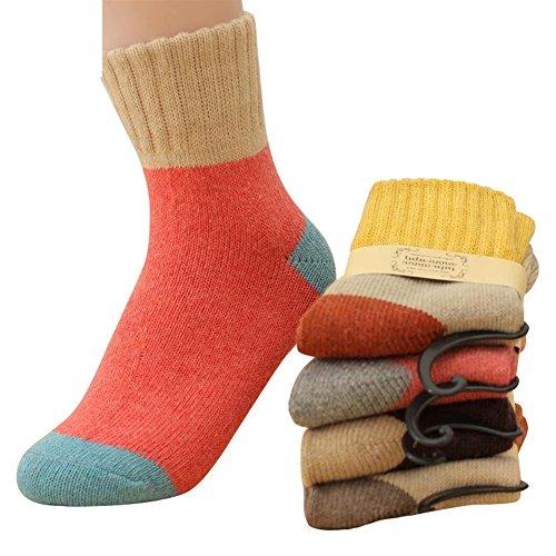 5 Pairs Women Winter Knitting Warm Wool Soft Crew Socks(C)