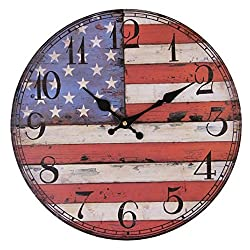 Valentine's Day Gifts-13 Inch Wall Decor Country Style Round Wall Clock- American Flag (American Flag)