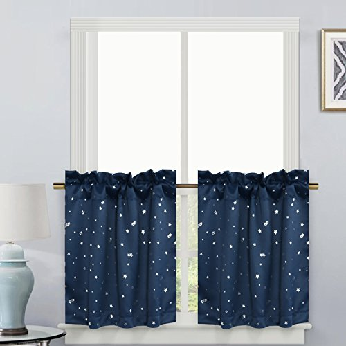 Thermal Insulated Kitchen Bath Laundry Bedroom Living Room with Rod Pocket Top Window Curtain Tiers for Kids - Navy with Glitter Star Pattern - (58