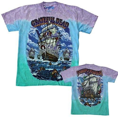 Liquid Blue Men's Plus Size Grateful Dead Ship of Fools Tie Dye Short Sleeve T-Shirt, Multi, Small