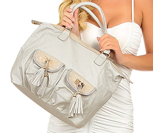 Womens Hobo Handbag Gray Embellished with Tassel Gold Trim Faux Leather