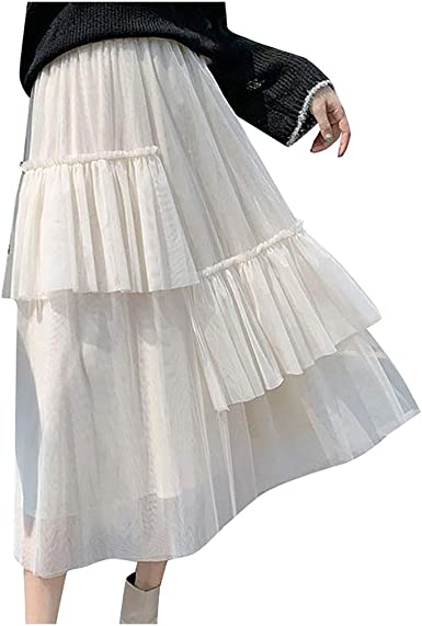 Women Ladies Tulle Mesh Skirt Elastic High Waist Layers Pleated Skirt Long Dress