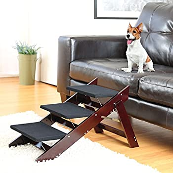 Mahogany Finish Folding Indoor/Outdoor 2 in 1 Wood Pet Steps and Ramp