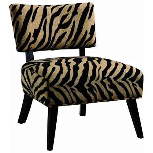 Wonderful Coaster Microfiber Accent Chair, Zebra Print