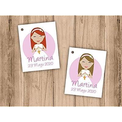 Etiquetas personalizadas para detalle de Primera Comunión niña. Pack 25 udes.
