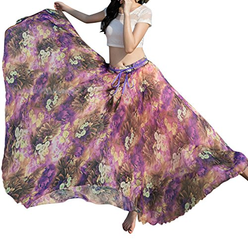 Mousseline Imprim Plage Boho Startreene Chiffon Casual Longue 5 Fleur Ceinture Taille Jupe Haute Femme wW8R6qvwA
