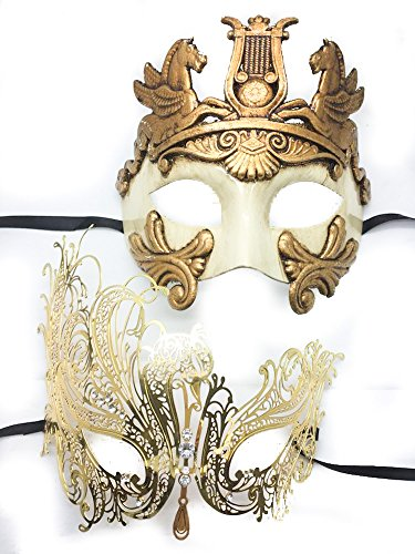 His And Hers Masks For Masquerade Ball (His & Hers Masquerade Couples Venetian Design Masks - 2 Piece Gold Colored Set - Warrior Greek Roman Mardi Gras Party Halloween Swan Ball Prom)
