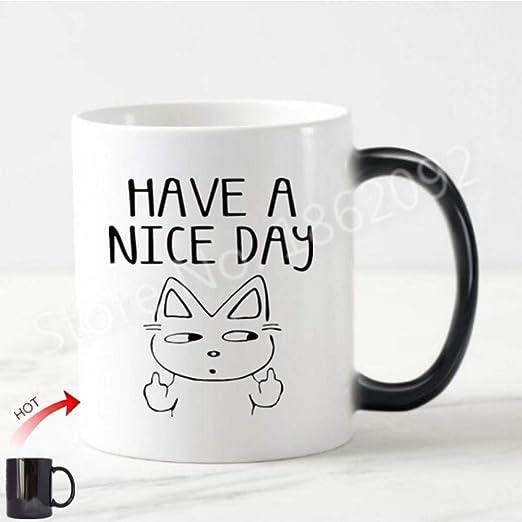FESHD Divertido Tenga un Buen día Gatos Taza Taza Humor Gato Dedo ...